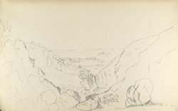 f.31'   Sulphur Valley. View from Top of Water Fall looking East.  Indus in distance.  Village of Lukkee on the right. Tank left with Tombs and Mosques.'